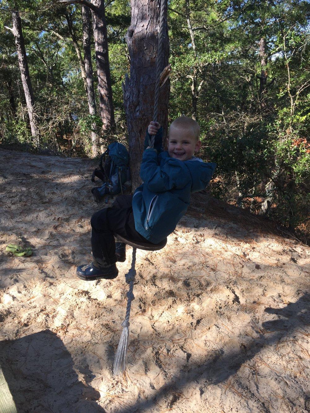 Swingin' on the rope swing!