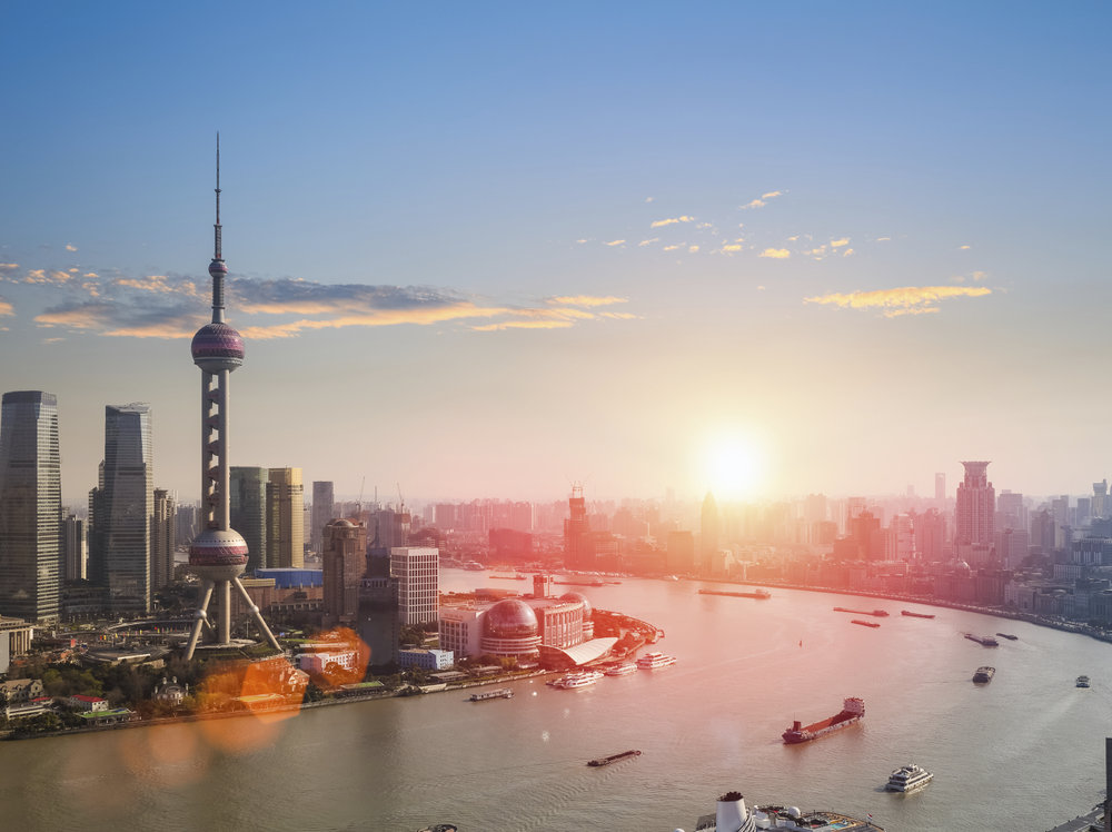 shanghai  in a beautiful dusk