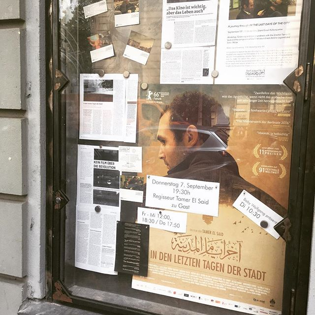 In the Last Days of the City is pit now in cinemas!! Woohooo!! Our friends from @wolfkinogang have put up our poster and the first press reviews. Today in @deutschlandfunk @taz.die_tageszeitung @sz @tipberlin and more! We're excited!! 🎉