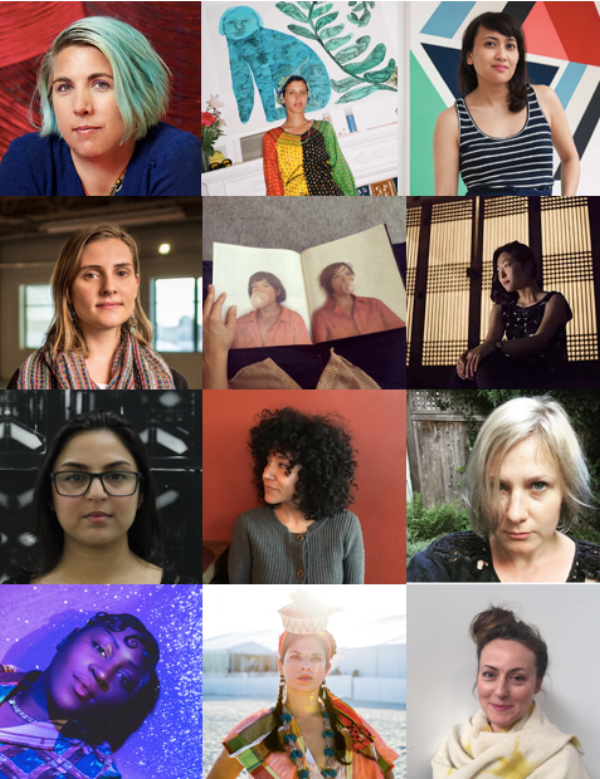 STONELEAF RETREAT 2018 Artists-in-Residence. From top left and in chronological residency order:   Liz Collins, Emma Kohlmann, Sinta Tantra, Rena Dextrixhe, Las Hermanas Iglesias, Camille Lee, Mahwish Chisty, Monica Palma, Elise Rasmussen, Theresa Chromati, Katiushka Melo, Rebecca Reeve