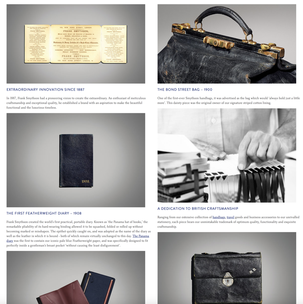 Smython's History Page adopts a formal tone of voice that compliment's the brand's history.