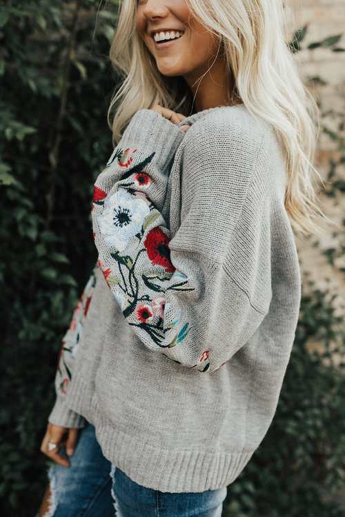 Cozy + grey + floral = Caitlyn's dream  sweater . Need this for real.
