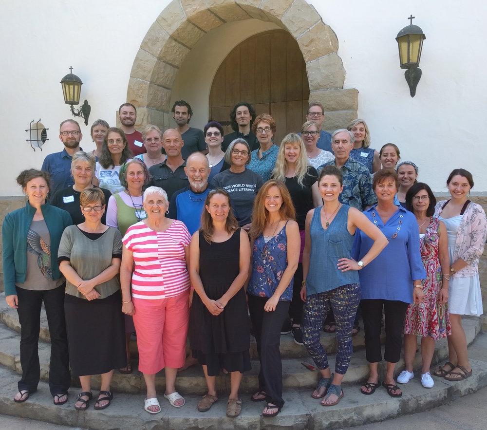 Paul K. Chappell (back row) with participants of the July 2017 Peace Literacy summer workshop at La Casa de Maria, Santa Barbara.