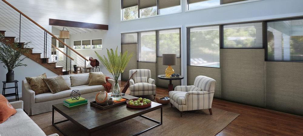 Lauras Draperies and Blinds Little Rock Arkansas Silhouettes Shades Custom Bedding Curtains 2 honeycomb shades.jpg