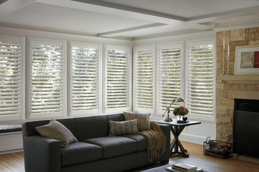 Lauras Draperies and Blinds Little Rock Arkansas Silhouettes Shades Custom Bedding Curtains 2 shutters home design interiors.jpg
