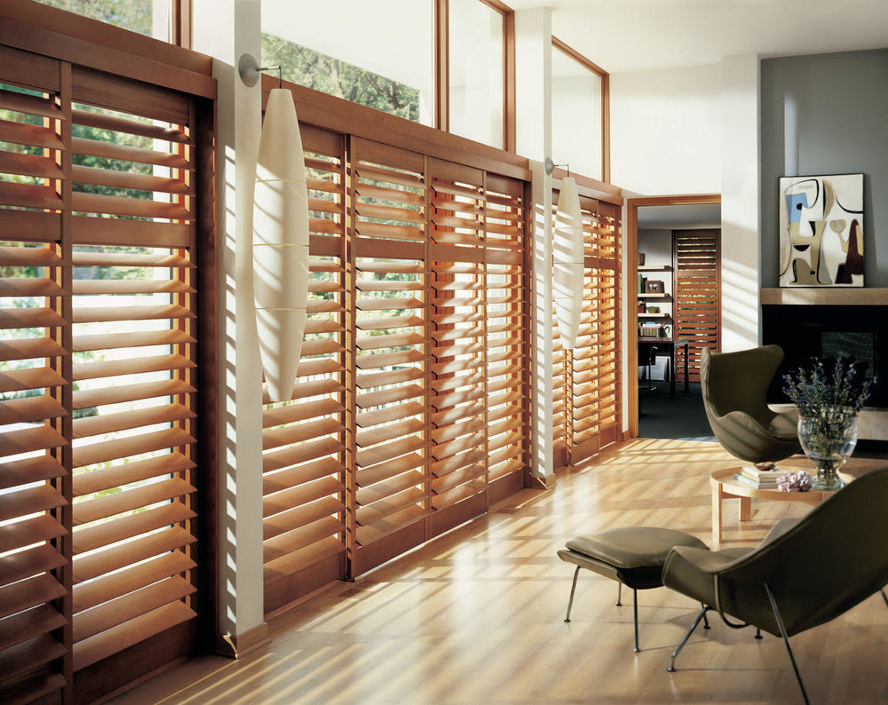 Lauras Draperies and Blinds Little Rock Arkansas Silhouettes Shades Custom Bedding Curtains shutters1.jpg