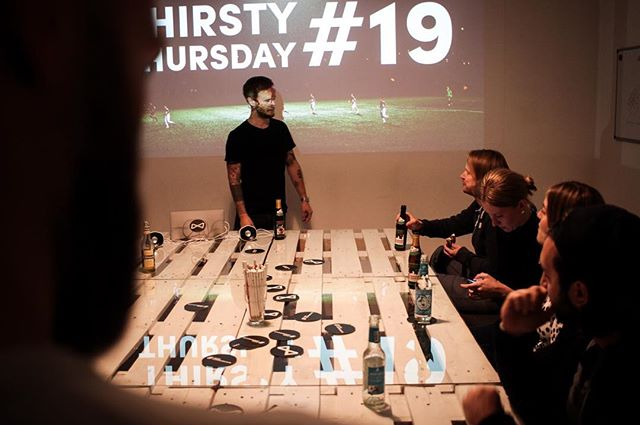 Thirsty Thursday Number 19: Alex with an (almost) objective presentation of the current state of commercialization of football in Germany. Thanks everyone for attending! We had a blast! #mrwolf #thirstythursday #squadgoals