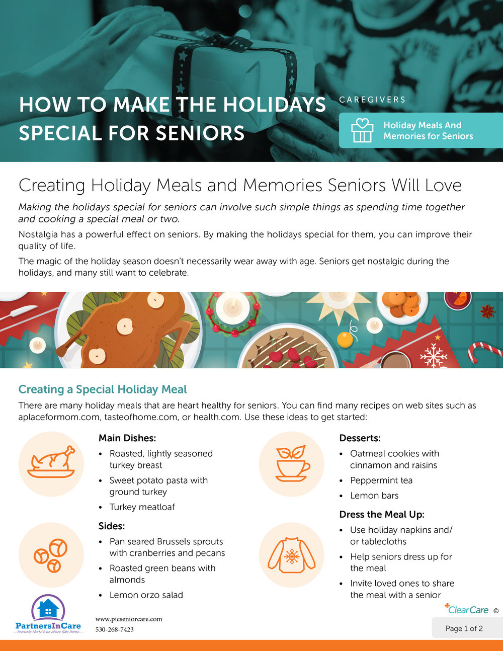 Flyer page 1 for How to Make the Holidays Special for Seniors
