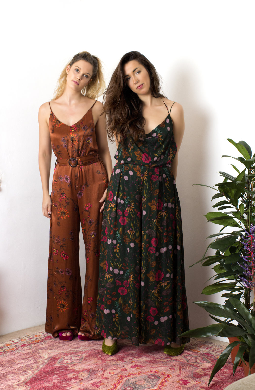 Left - Bianca Jumpsuit  Right - Mia Cami and Olivia Trousers