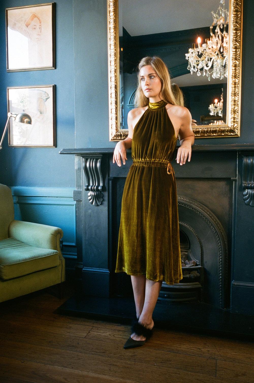 Eva Silk Velvet Dress - Gold