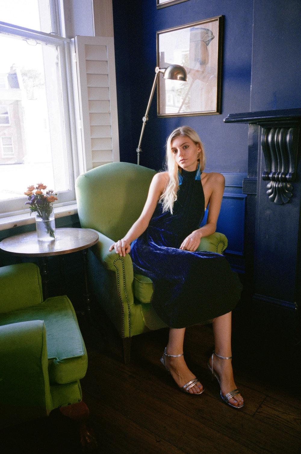 Eva Silk Velvet Dress - Ink