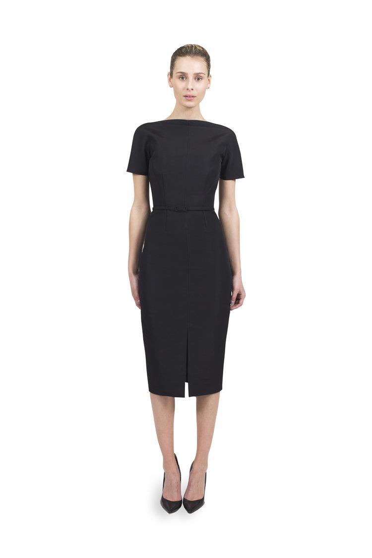 537d3a78eed214 #972 Vintage V-Back Dress with Belt and Slim Vintage Skirt (FRONT)
