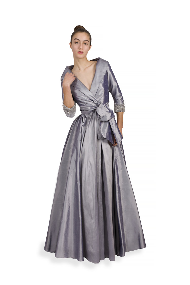 Tuxedo Collar Gown with 3/4 Sleeve and Swarovski Crystal Cuff ...