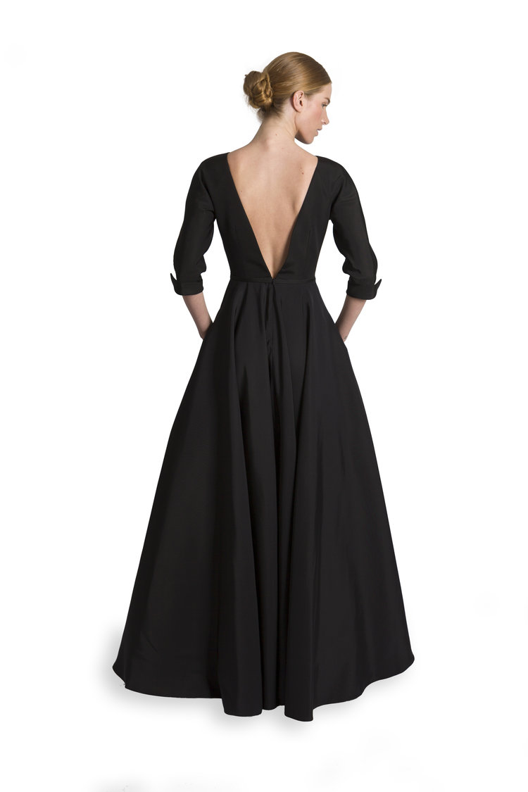 5aace4e6f9c246 Vintage 3/4 Sleeve V-Back Gown with Belt & Circle Skirt — Catherine ...