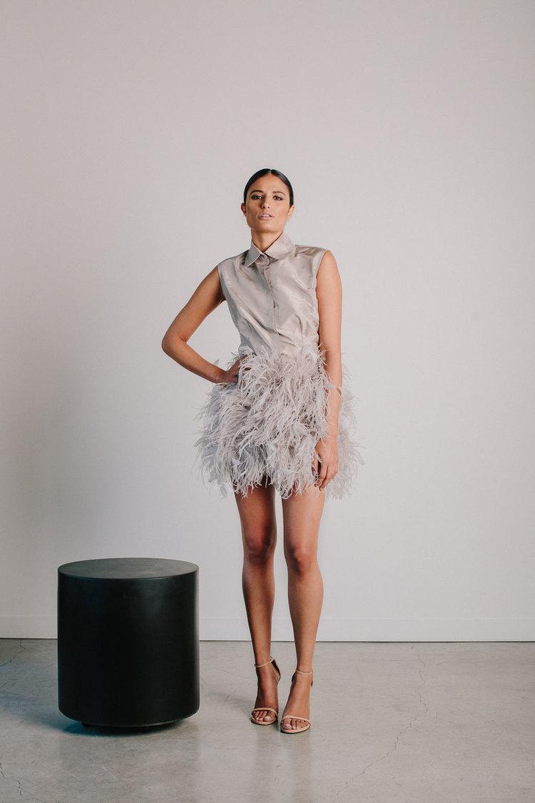 Sleeveless Collared Shirt Ostrich Feather Skirt Catherine Regehr