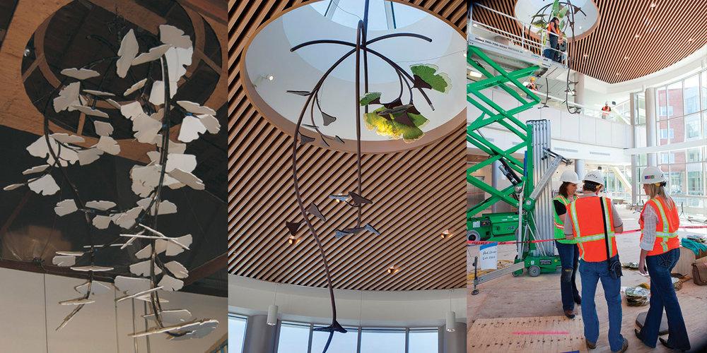 Studio Art Direct Glass Gingko Art Installation Kaiser Permanente Westside