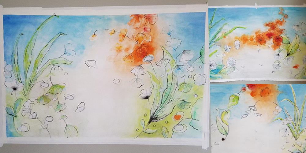 Janelle Baglien Watercolor Commission Healthcare Wallpaper