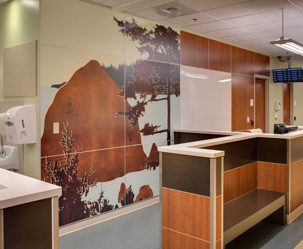 Digital art printed on laminate and installed as a vertical casework element by Studio Art Direct. Artwork by Joe Futschik.