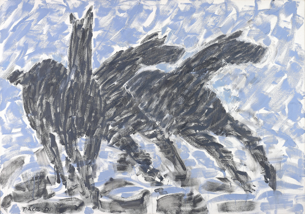 Stephen Pace,  Three Black Horses Running Through Shallows,  2001  Oil on Canvas, 42 x 60 in.