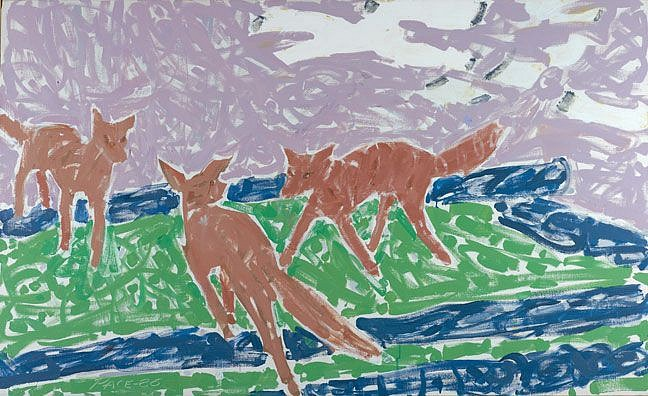1970s - 1980s - Image: Three Foxes, 1986Oil on Canvas40 1/4 x 66 1/4