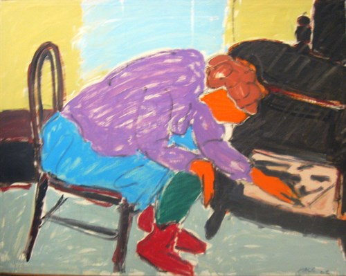 Building a Fire, Woman Starting a Fire (62-7), 1962 Oil on Canvas  50 1/2 x 64 1/2 x 1 in.