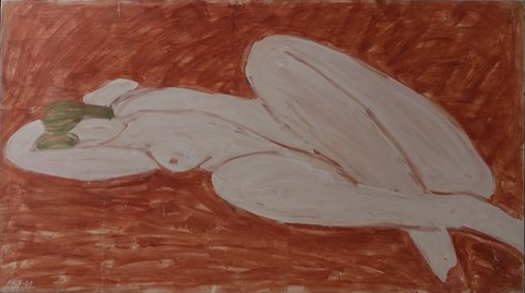 Reclining Nude, Venitian Red Ground (65-10), 1965 Oil on Canvas 38 x 68 in.