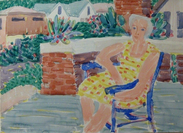 Mother on Porch, Blue chair, 1964  Watercolor on Paper  22 1/4 x 30 1/2 in.