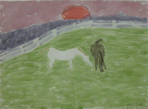 Black Horse, White Horse, Red Sun (66-W14), 1966 Watercolor on Paper  27 1/4 x 24 1/2 x 0 3/4 in.