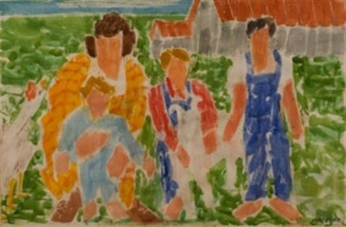 Family With Goat (02-DSW3), 2002 Watercolor on Paper  27 x 40 1/2 in.