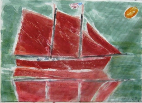Red Windjammer, Green Sea, 2007 Watercolor on Paper   22 x 30 in.