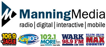 Manning Media, Inc. - is a multi-faceted media company that owns and operates the region's top radio stations,  Key 103, 106.9 The Eagle, 102.1MOREfm and WARK 98.9FM/AM1490 and also has a full service digital marketing division.