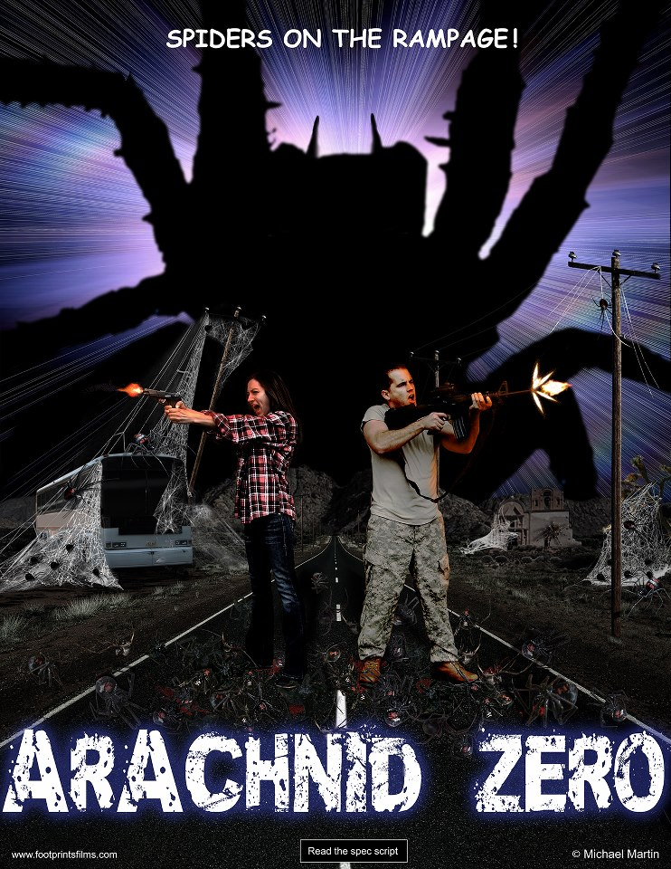 Arachnid Zero - A science experiment goes horribly wrong and releases giant mutant spiders into the desert where a bus full of helpless travelers is caught in their web of destruction. Along with the other passengers, Jeffrey Scott will battle eight-legged monsters, dodge psychotic criminals, and fight off deranged scientists. At the end, can he save the girl from the evil arachnids' hunger? Sci-fi.