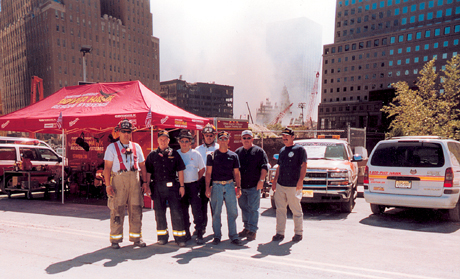 At Ground Zero on September 15, 2001 - Charlie Miller, John McCarthy, Frankie Borgesi, Mike Beasley, Buster Dobbins, Harold Garner and Bill Hickerson