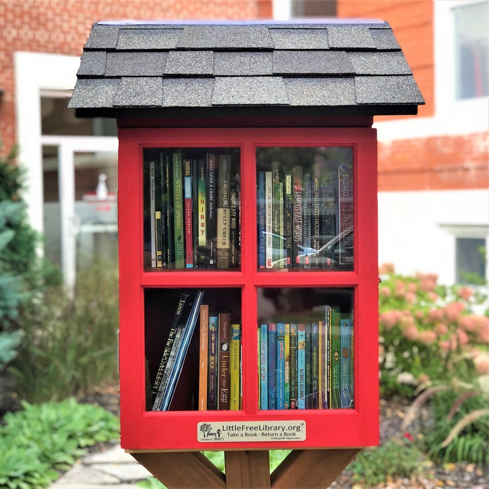 Town Square's Little Free Library is packed and ready for people to enjoy.