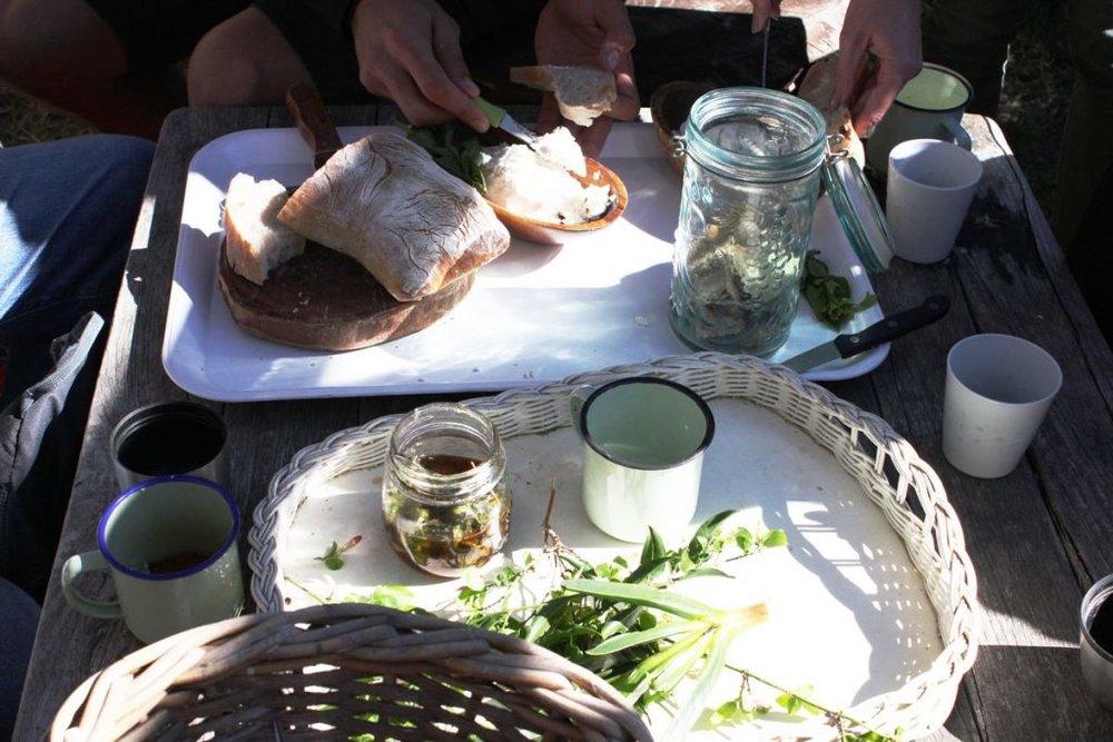 Bread, cheese and honey with wild jasmine tea.