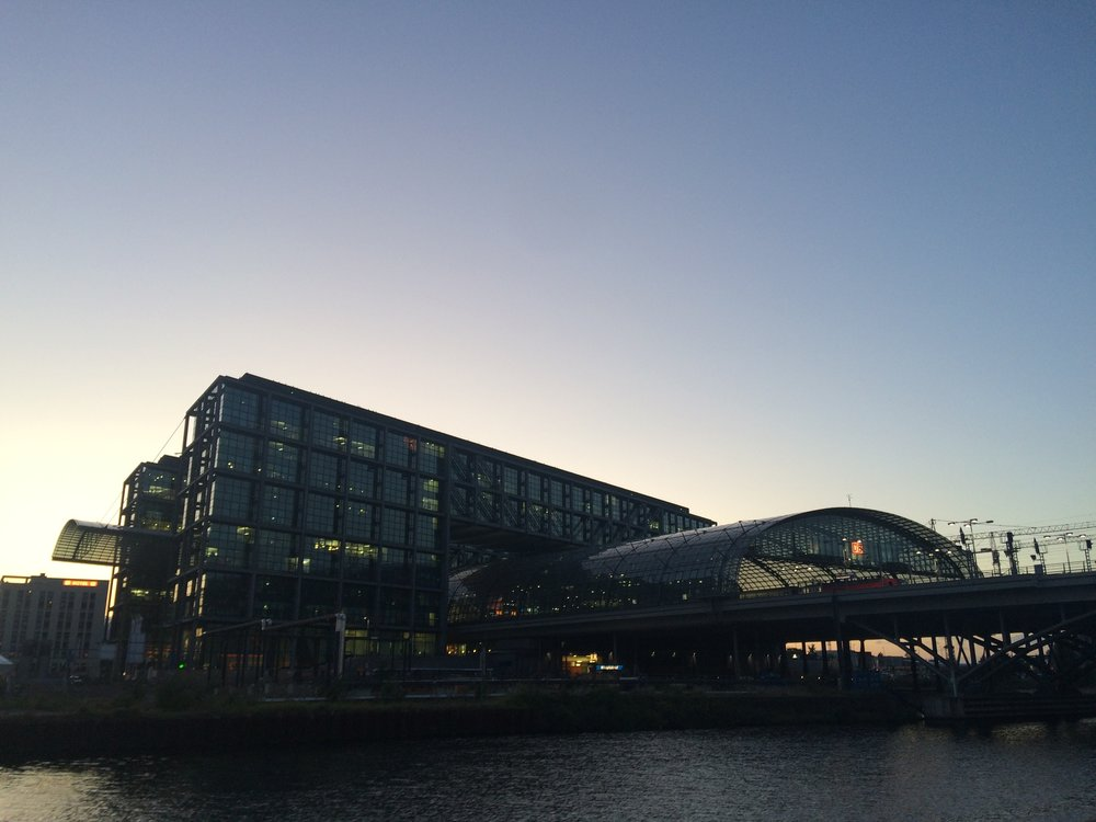 Berlin Haubtbahnhof at sunset - a symphony in glass and steel