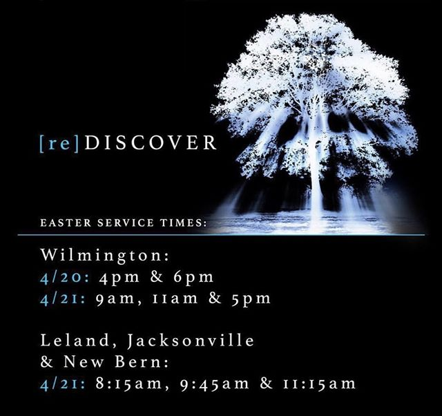 Don't forget, we have 3 Easter Sunday services @pc3newbern! We'll see you at 8:15am, 9:45am or 11:15am. #[re]discover