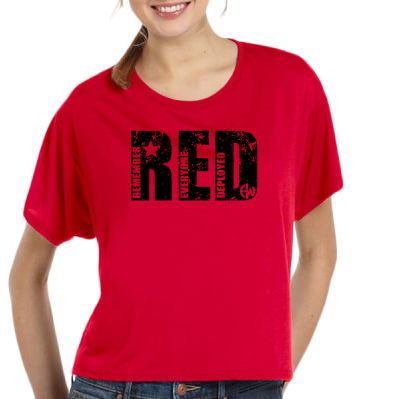 - RED EW - Ladies' Flowy Boxy T-Shirt $27.50