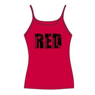 - RED EW - CANVAS Ladies' Slouchy Tank $27.50