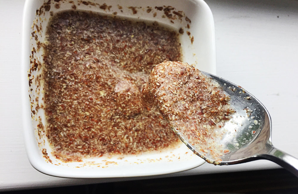 1. Did you know flaxseeds can be like eggs. Mix together your flax meal and water and set aside. After ten minutes, the consistency will be nearly like egg whites.