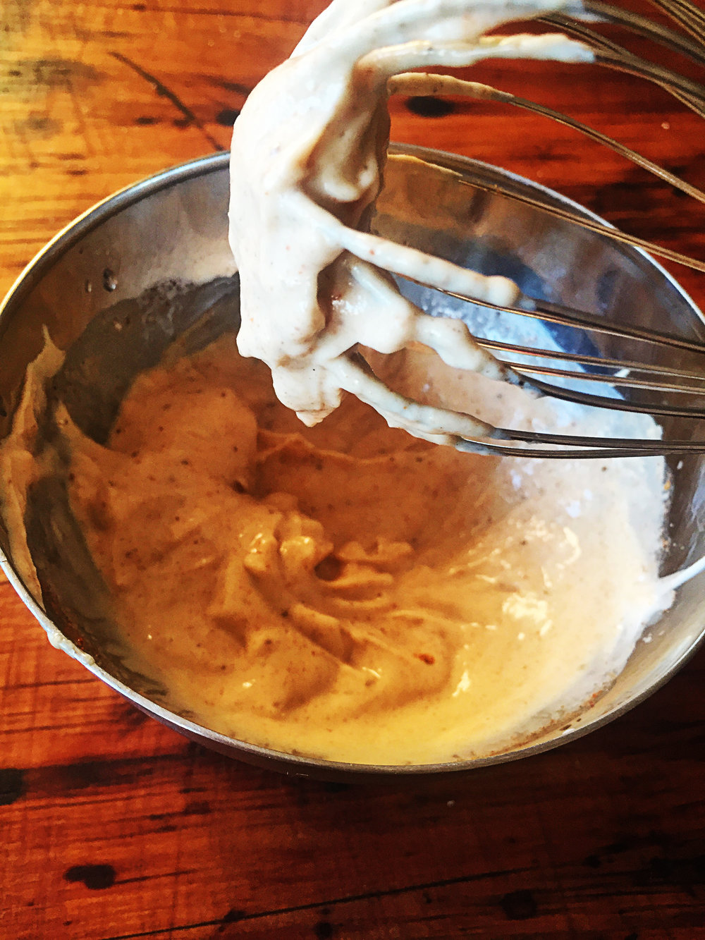 While the fritters are cooking, mix together all the ingredients for the aioli, set aside for dipping.