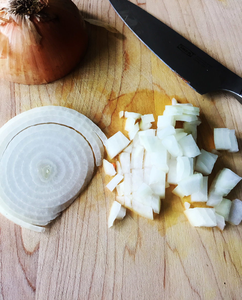 1. Dice your onions into bite size chunks.