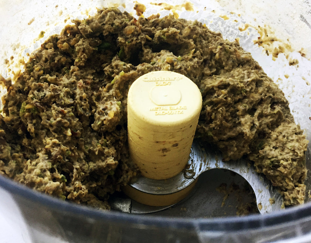 6.  Add all the slider ingredients to food processor and run for just 5-10 seconds to mix well. You can also mix in a bowl if you like more intact lentils.