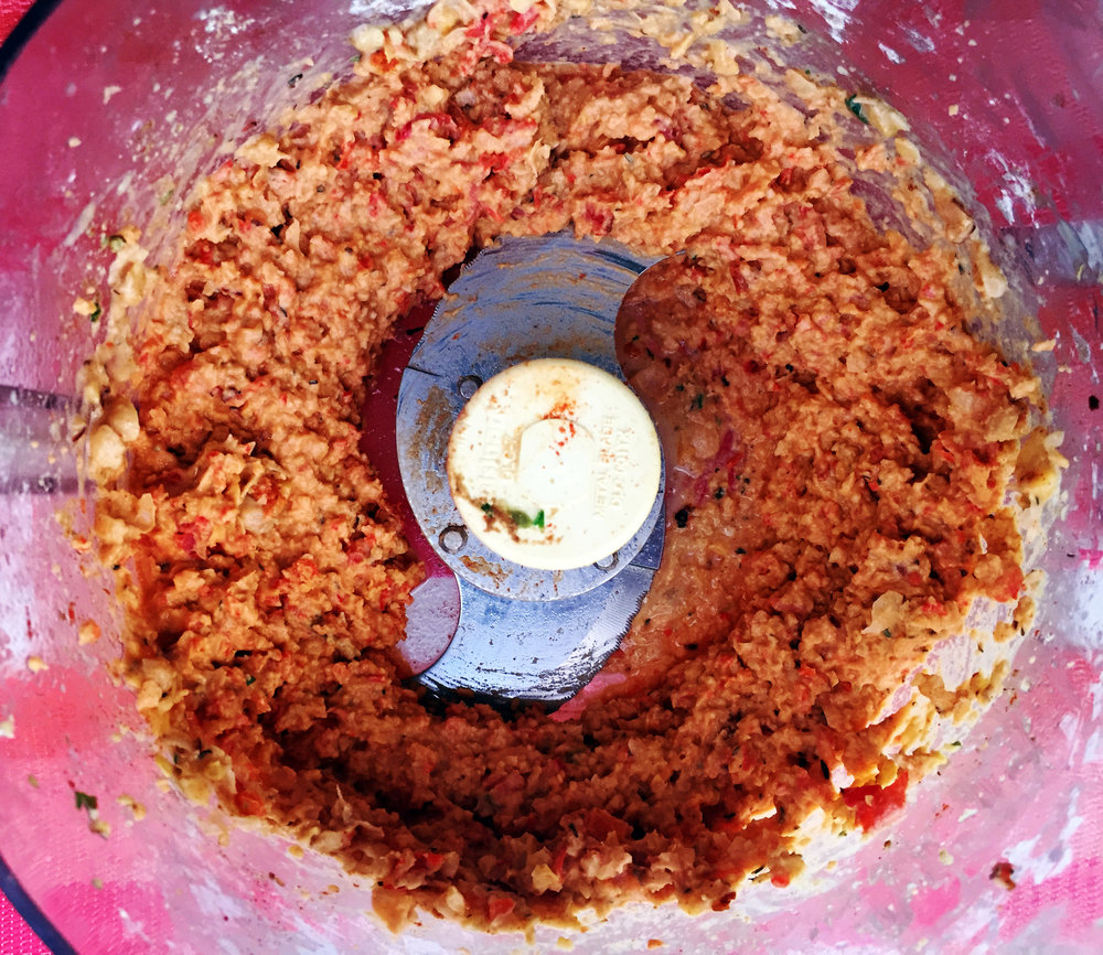 5. After red pepper is done, place into food processor with rest of hummus ingredients and blend till smooth.