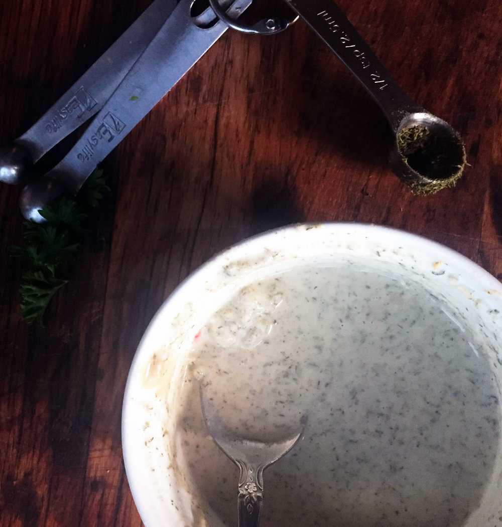 6. Finally, whisk together the dill sauce with all ingredients.