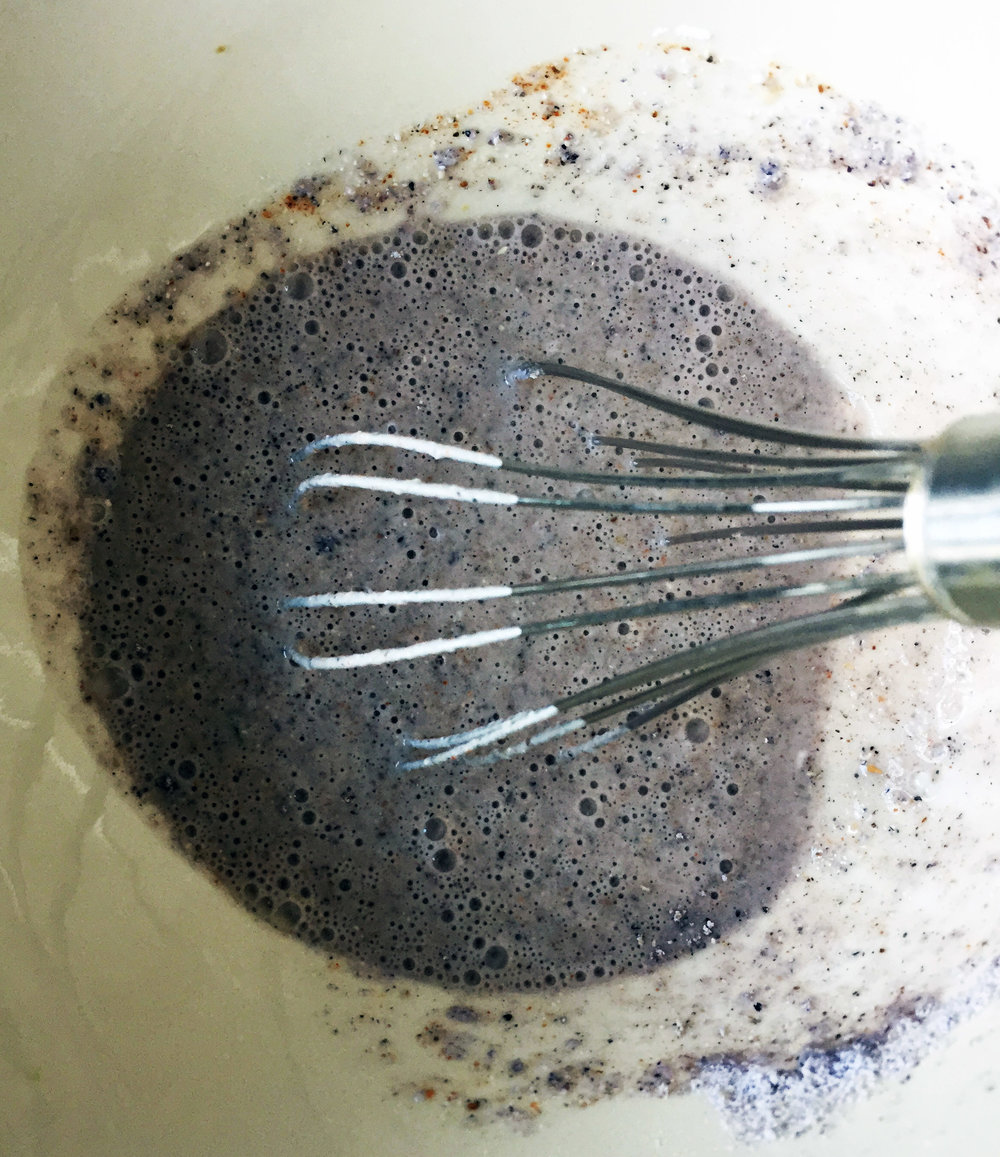 2. Whisk together the flour, cornmeal, milk, and spices. Everything sans bread crumbs.