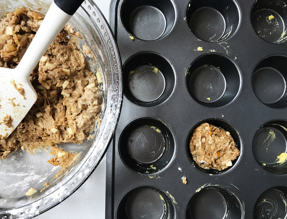 4. Scoop in the donut muffin mix into the muffin pans. You should have 9-10.