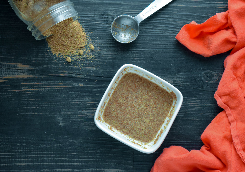 2. While the sauce + lentils cook, mix chia meal with water and set aside.
