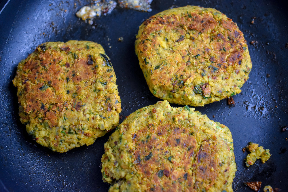 4. Cook the patties on medium heat on each side for 4 minutes until browned.