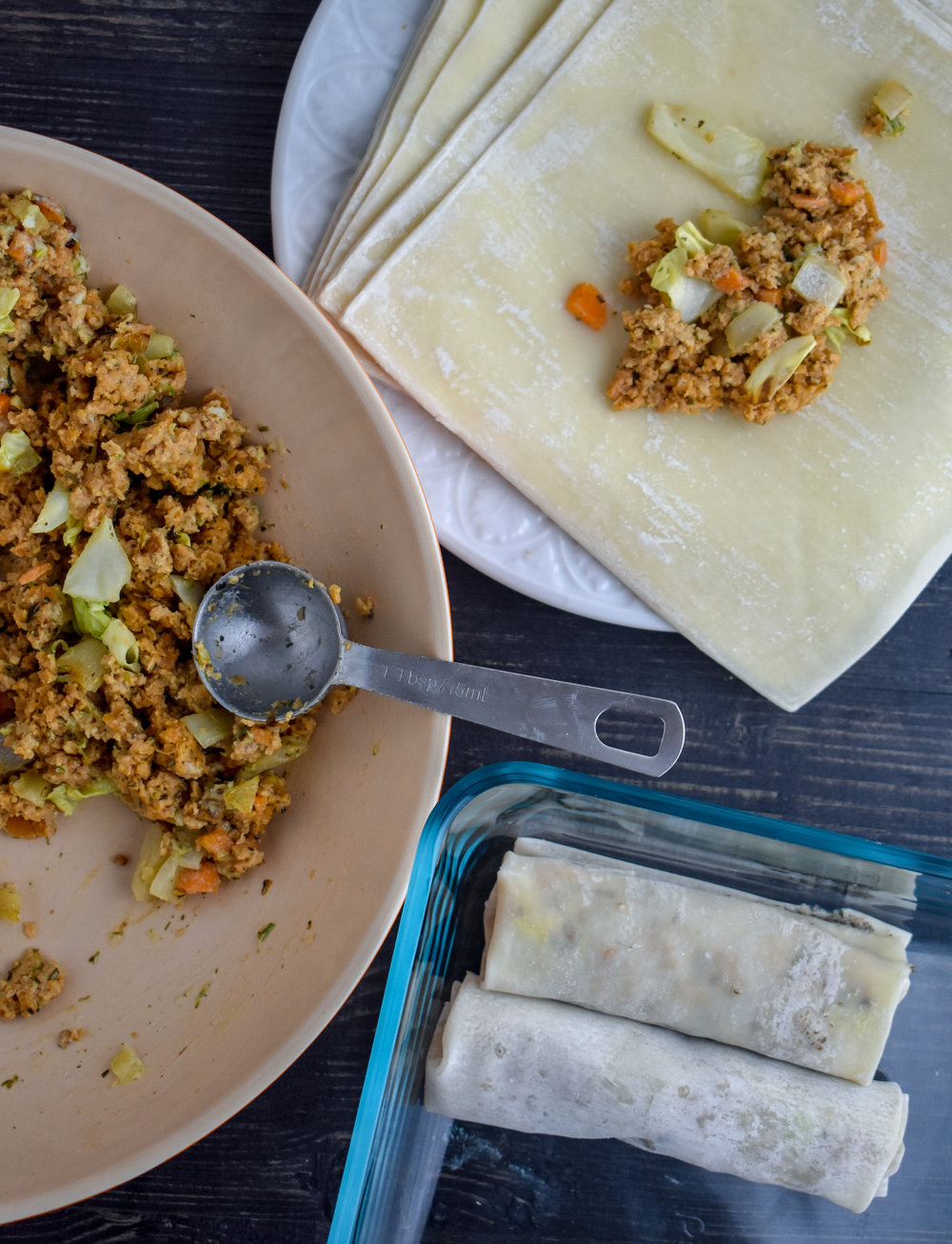 9. Finally, we are ready to form our spring rolls. Fill each wrapper with 2 tbl of the mixture until you run out. I made about 9 (8 and a wee one).